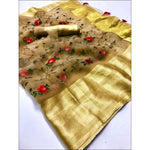 Gold Pure Organza Silk Elegant Party Saree With Rich Embroidery