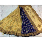 Gold With Blue Party Designed Grand Party Saree