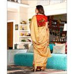 Gold With Contrast Blouse Elegant Soft Silk Party Saree