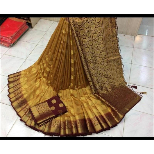 Gold With maroon Border Pure Organza Silk Saree