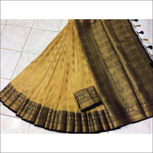 Gold With Navy Blue Border Pure Organza Silk Saree