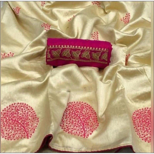 Golden and Pink kiicha silk with tree embroidery