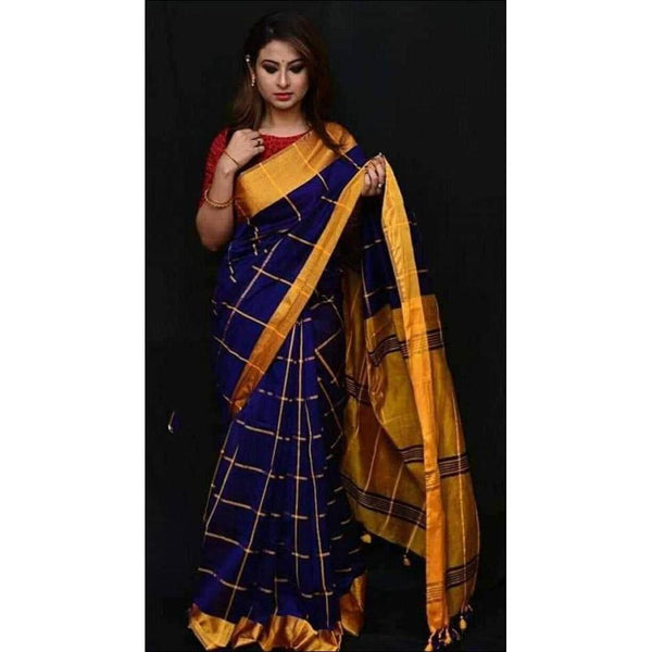 d140c1ed52600a Gorgeous Navy Blue With Gold Border Soft Handloom Cotton Silk Saree