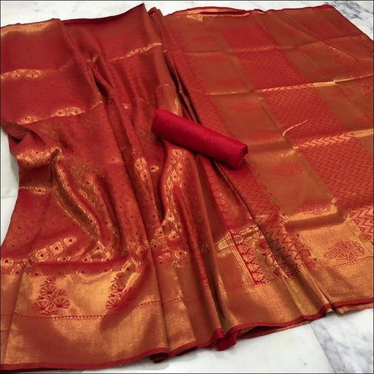 Grand Red Handloom Silk Saree With Heavy Zari Work