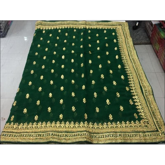 Green Designer Heavy Stone Work Party Saree
