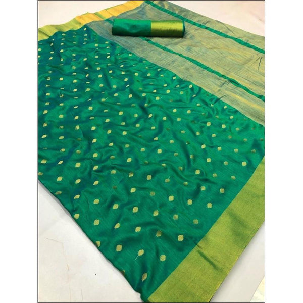 Green Elegant and Traditional Soft Silk Saree With Butti Weaving