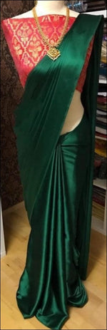 Green Elegant And Trendy Satin Party Saree With Banarasi Blouse Party saree
