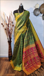 Green Handloom Silk Weaving Raw Silk Saree Silk Saree