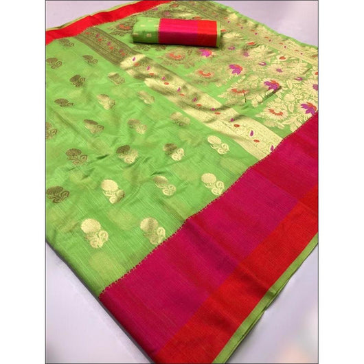 Green Linen Weaving Silk Saree With Elegant Satin Border