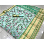 Green Pure Organza Silk Elegant Party Saree