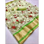Green Pure Organza Silk Elegant Party Saree With Rich Embroidery