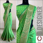 Green Sana Silk Party Saree With Woven Design Party saree