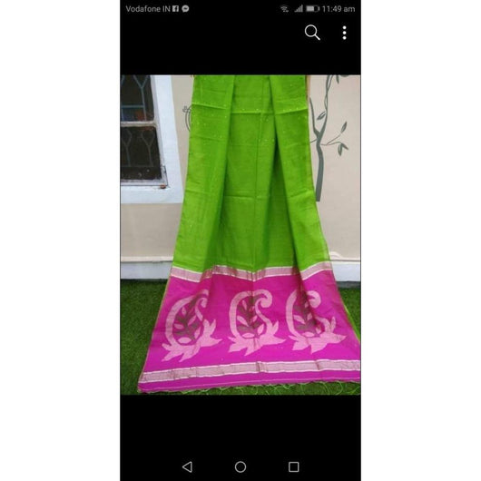 Green Silk Cotton Trendy Sequence Party Wear Saree
