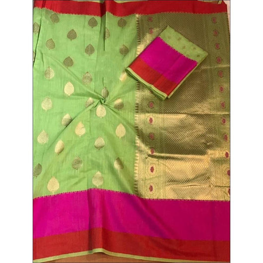 Green Soft Linen Weaving Silk Saree With Elegant Work