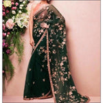 Green Stylish Embroidery Soft Net Party Saree