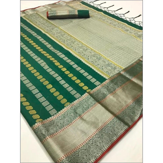 Green Traditional Soft Silk Saree With Beautiful Silver Border