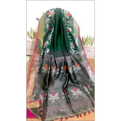 Green Trendy 100 Count Linen Party Saree