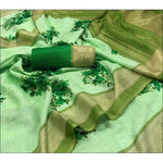Green Trendy Linen Party Saree With Fancy Tussels