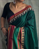 Green Trendy Modern Cotton Handloom Silk Saree Cotton saree