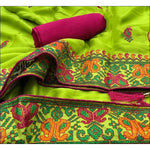 Green Trendy Two Tone Chiffon Silk With Kashmiri Embroidery Party saree