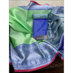 Green With Blue Handloom Banarasi Muslin Party Saree