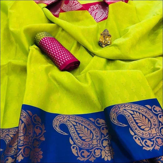 Green With Blue Ravishing Banarasi Silk Party saree
