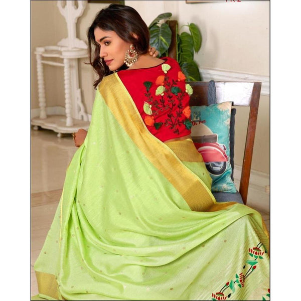 Green With Contrast Blouse Elegant Soft Silk Party Saree