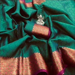 Green With Magenta Ravishing Banarasi Silk Party saree