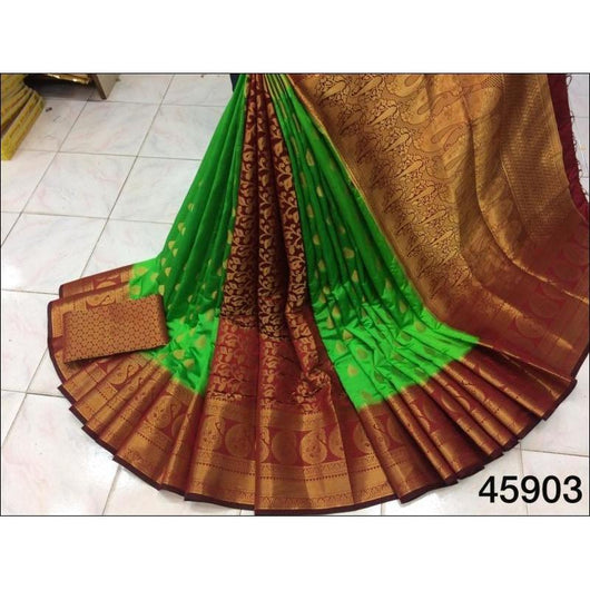 Green With Maroon Pure Moonga Soft Silk Saree