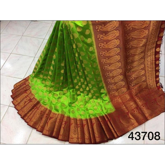 Green With Marron Border and Mango Butta All Over Pure Organza Silk Saree