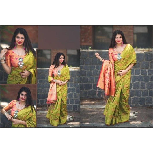 Green With Orange Classy Soft Patola Banarasi Silk Saree Silk Saree