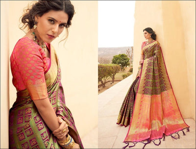Green With Peach Pallu Banarasi Silk Weaving Silk Saree With All Over Sari Silk Saree