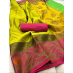 Green With Pink Banarasi Kora Muslin Party Saree