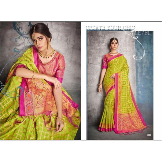 Green With Pink Banarasi Soft Silk Saree With Rich Grand Zari