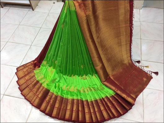 Green With pink Border Elegant Pure Organza Silk Saree Silk Saree