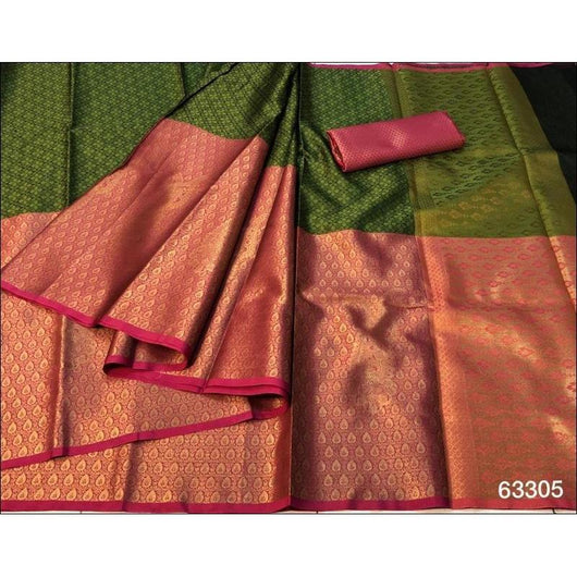 Green With Pink Elegant and Traditional Pure Tanchuri Silk Saree