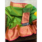 Green With Pink Handloom Banarasi Muslin Party Saree