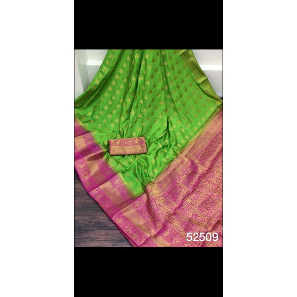 Green with pink pure organza silk saree