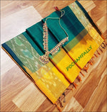 Green With Yellow Pure Silk cotton Silk Saree With Pochampalli Border Silk Saree