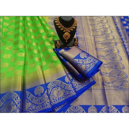 Green witj Blue Soft Balaton Silk saree