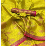 Greenish Yellow Banarasi Kora Muslin Party Saree
