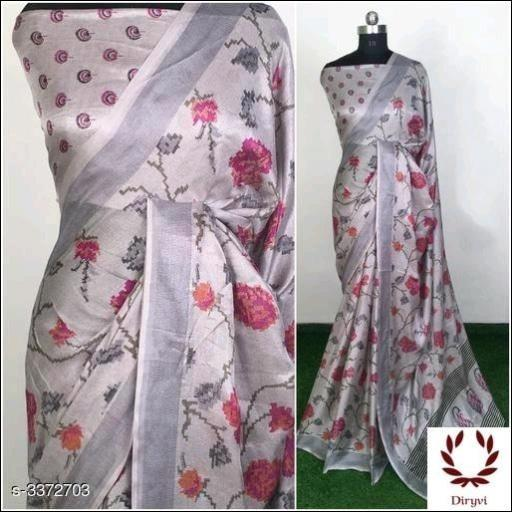 Grey Attractive Semi Lenin Party Saree