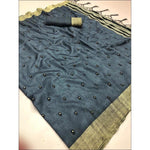 Grey Lenin Silk Party Saree With Embroidery