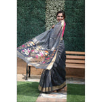 Grey linen silk Jamdani Party Saree With Contrast Blouse