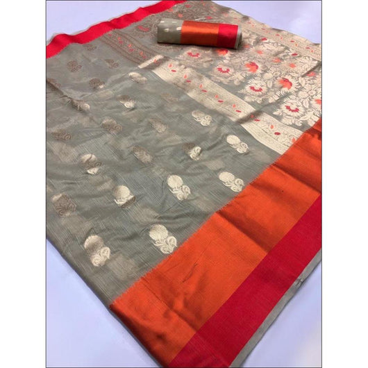 Grey Linen Weaving Silk Saree With Elegant Satin Border