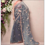 Grey Stylish Embroidery Soft Net Party Saree