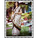Grey Trendy Linen Party Saree With Fancy Tussels
