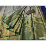 Grey With Green Elegant and Traditional Pure Tanchuri Silk Saree