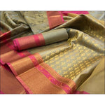 Grey With Pink Banarasi Kora Muslin Party Saree