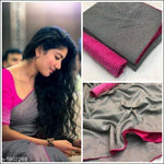 Grey With Pink Contrast Blouse Elegant Party Saree